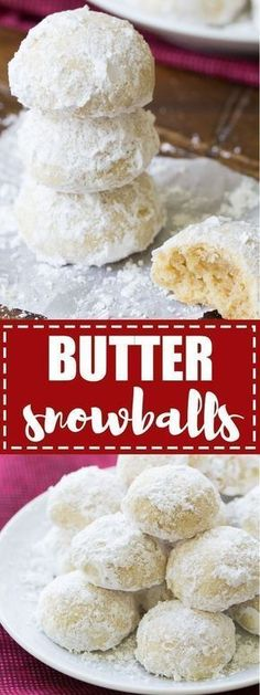 These Butter Snowballs Cookies are soft, buttery, melt in your mouth cookies! They are a favorite holiday cookie made with butter, nuts and powdered sugar. #christmas #christmascookies #sugarcookies #cookies #holidayrecipes