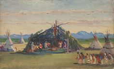Artwork by Kathryn Leighton, Blackfoot Indian ceremony, Made of oil on canvas