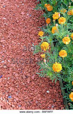 Crushed brick as possible path surfacing in between garden beds? Brick Path, Brick Garden, Recycled Brick, Recycled Garden, Garden Waterfall, Diy Shed Plans, Backyard Seating, Rustic Gardens, Garden Landscaping