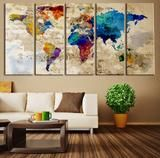 Old Paper Watercolor World Map Wall Art Canvas Print, No:067