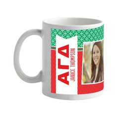 Patterned Pride: Alpha Gamma Delta: 11 oz White - Greek Mugs in Tomato Red. #GreekLife #gifts