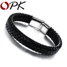 OPK Fashion Knitted Genuine Leather Rope Chain Man Bracelets Classical Simple Design Men Jewelry With Magnet Buckle PH894