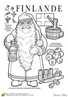 Dessin à colorier d'un pays du Monde, la Finlande - Hugolescargot.com School Coloring Pages, Colouring Pages, Coloring Books, Little Passports, World Geography, World Crafts, Christmas Coloring Pages, Thinking Day, Sketch Painting