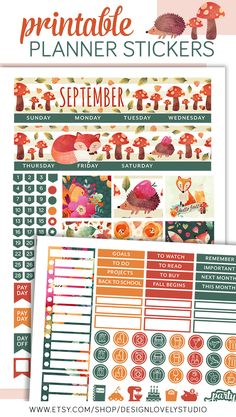 Super cute fall planner stickers for use with the Erin Condren. This printable planner stickers kit includes cut files.