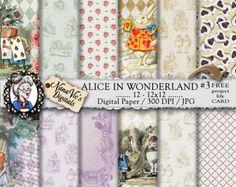 Alice in Wonderland Digital Papers 2: vintage collage sheet, toile patterns, journal Scrapbooking paper, Photography back drop, John Tenniel