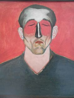 Andrzej Wróblewski, Man's Head on Red Background, 1957 Internet Art, Apps, Season Of The Witch, Found Art, Abstract Portrait, Red Background, Painting Techniques, Figurative Art, Art Blog