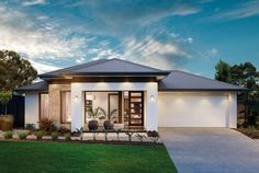 Queensland's most desirable homes from our Plantation Collection, exceptional living crafted for Queensland. Modern House Facades, Modern House Design, Modern Architecture, Front House Landscaping, One Storey House, House Outside Design, Prairie Style Houses, Simple House Plans, Future House
