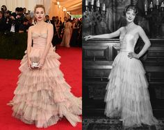 Suki Waterhouse in Burberry. The British model looks a lot like Dorothy Mackaill in The Whip (1928). #MetGala2014