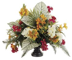 Frangipani, Bougainvillea and Flame Flower Arrangement