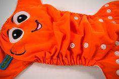 Fish Face (Orange Outer)Embroidered, One Size Pocket Diaper – Ella Bella Bum