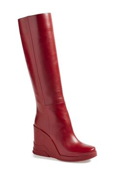 Prada Knee High Wedge Boot (Women) available at #Nordstrom
