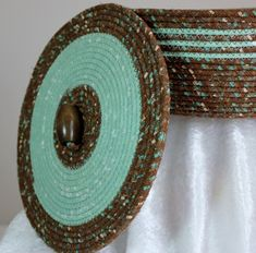 Custom Made Fabric Bowl With Lid - Coiled - Wrapped Clothesline - Medium Round - Brown/Mint Green Rope Basket, Basket Weaving, Pine Needle Baskets, Fabric Bowls, Clothes Basket, Rope Crafts, Braided Rugs, Weaving Projects, Clothes Line