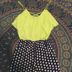 polka dot romper yellow & navy blue polka dot romper Francesca's Collections Other