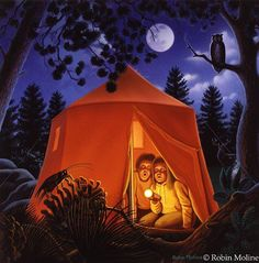 The Campout Painting - Robin Moline - Excellent Artist I Love Sleep, School Murals, Farm Art, Naive Art, Outdoor Photography, American Artists, The Great Outdoors, Robin, Illustration Art