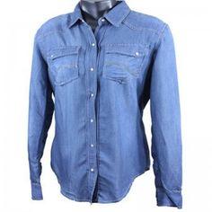 Cowgirl Hardware Ladies Blue Denim Long Sleeve Shirt