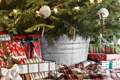 Putting Down Roots: Christmas DIY Decorating Ideas from Country Living I really like how they used the old wash tub to hide the trunk or legs of the tree!