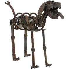 Life Sized Folk Art Welded Steel & Iron Dog Sculpture | From a unique collection of antique and modern sculptures and carvings at http://www.1stdibs.com/furniture/folk-art/sculptures-carvings/