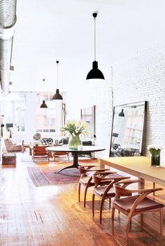 Inside Jonah Hill's Perfectly Decorated SoHo Loft via @domainehome loving those brick walls