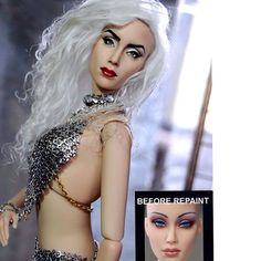 Before and After - custom repaint of 16 inch Lady Gaga doll For more info on Noel's work visit www.ncruz.com