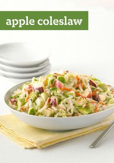 Apple Coleslaw -- Got 4 ingredients and 10 minutes? Then you're on your way to a healthy living coleslaw recipe that can be part of a smart eating plan and is bursting with apple flavor.