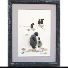 Stone art penguins