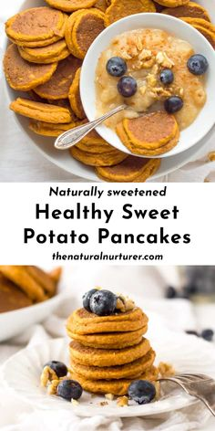 These mini Healthy Sweet Potato Pancakes are made with simple ingredients you probably already have, are naturally sweetened, the perfect size for little eaters and are a delicious way to get veggies in at breakfast. #sweetpotatopanckaes #pancakes #breakfast #veggieloaded #healthy @naturalnurturer | thenaturalnurturer.com Sweet Potato Recipes Healthy, Pureed Food Recipes, Baby Food Recipes, Sweet Recipes, Keto Recipes, Fall Recipes, Healthy Foods, Dinner Recipes, Healthy Eating