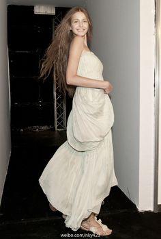 Kristina Romanova backstage at Alberta Ferretti Spring 2011
