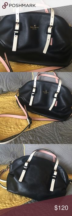 Kate Spade handbag Very good used condition! Two zipper closure.  Small handles with long shoulder strap.  Cream color on the outside, pink on the inside. Inside the bag is beautiful and like new. No rips, tears, pen marks, major damages. A beautiful bag!!! kate spade Bags Shoulder Bags