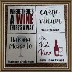This is a beautiful set of four ceramic tile coaters with comical wine puns! The coasters are 4 in by 4 in tiles with vinyl lettering and a cork backing to save your tables! These items are not dishwasher safe.