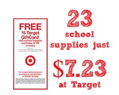 Target Free $5 Gift Card Scenario: Spend $7.23 for 23 School Supply Items at Target - Passionate Penny Pincher