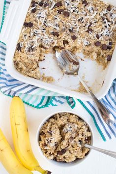 Banana Chocolate Chip Coconut Baked Oatmeal is made with coconut milk, maple syrup, fresh bananas, shredded coconut and chocolate chips to create a healthier option for breakfast! It reheats well and tastes great as leftovers so you can enjoy it all week long.