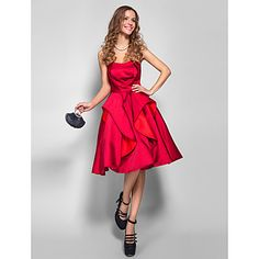 Homecoming Cocktail Party/Holiday/Homecoming Dress - Burgundy Plus Sizes A-line Strapless Knee-length Satin – USD $ 99.99