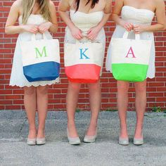 Bridesmaid gifts - monogrammed beach bags. If you want the best officiant for your Outer Banks, NC, ceremony, contact Rev. Barbara Mulford: myobxofficiant.com/