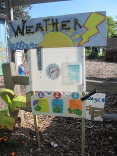 Weather station is one of many hands-on opportunities in the Ithaca Children's Garden. Preschool Playground, Preschool Garden, Sensory Garden, Outdoor School, Outdoor Classroom, Outdoor Fun, Outdoor Learning Spaces, Outdoor Education, Diy Garden