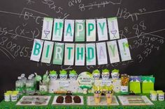 mad science boy's birthday party table