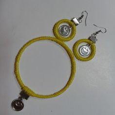 12 best macrame accessories images on Pinterest   Macrame      macrame  accessories  handmade  bracelet earrings yellow 4sale