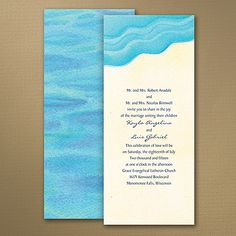 Watercolor Waves - Invitation discounted 25% at Quaint Wedding Stationery. Perfect for destination or beach wedding!