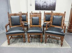 Antiques By Design - Northwind Carved Set ~ 6 Victorian Quartered Oak Dining Chairs Antique Dining Chairs, Armchair, Victorian, Carving, Antiques, Furniture, Design, Home Decor, Sofa Chair