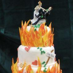 Divorce Cake {yep, the flames}