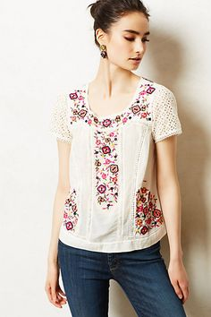 Embroidered boho goodness, bohemian  flowers on cotton blouse with lace inserts. Pernetiana Tee #anthropologie $128.00