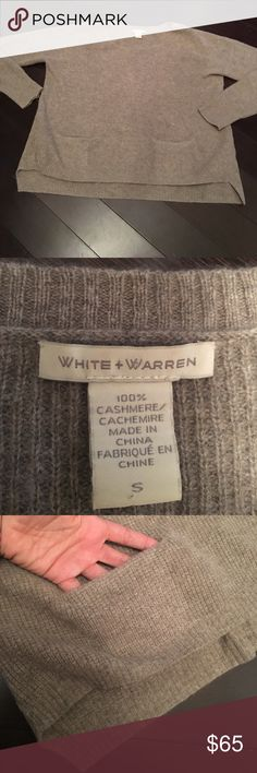 White+Warren Cashmere Sweater Luxe 100% cashmere super soft sweater with slight hi-lo hem and cut out pockets above hem. Color is nice tan beige and grey heather.  *oversized small meant to be loose*  22in shoulder to hem and 24 inches across bust. EUC no pulls or piling White + Warren Sweaters Crew & Scoop Necks