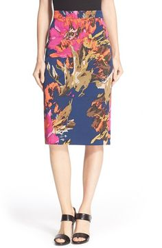 268.00 Free shipping and returns on Trina Turk 'Miki' Floral Print Pencil Skirt at Nordstrom.com. A splashy floral print emboldens a timeless stretch-woven pencil skirt tailored with a long, lean silhouette and a pleated back vent to ease movement.