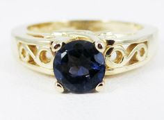 Blue Sapphire Filigree Gold Ring