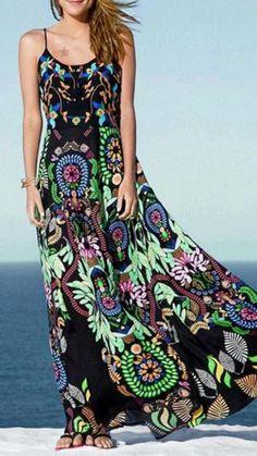 Gorgeous Colors! Colorful Printed Cami Maxi Dress #Colorful #Resort #Maxi #Dress #Fashion