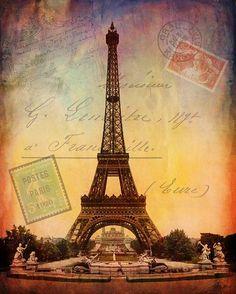 Eiffel Tower Paris France  Romantic Digital by Kristen Stein Fine Art
