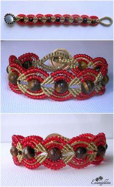 "http://youtube.com/wat   Beaded macrame bracelet.... I named it ""Flaming Tiger Eyes""...! ;-)"