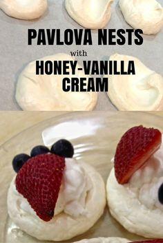 Happy Easter And Pavlova Nests With Honey-Vanilla Cream Recipe | Living Linda