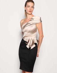 Khaki & black one shoulder dress - wadulifashions.com