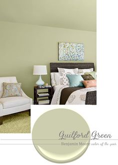 """A """"New"""" Neutral Paint Color [Guilford Green by Benjamin Moore] (Emily A. Clark) (""""When I think of neutral paint colors, my mind automatically goes to shades of tan, white or gray. But, here's a new idea to consider if you're in a color rut. Benjamin Moore just announced the official 'color of the year' for 2015, and it's a surprisingly soft, neutral shade that works well with lots of deeper, bolder colors."""")"""