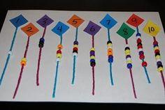 1 to 1 correspondence worksheets | Wikki Stix Kites for One-to-One Correspondence